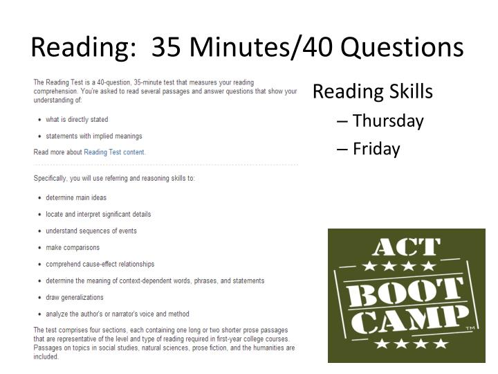 Reading:  35 Minutes/40 Questions
