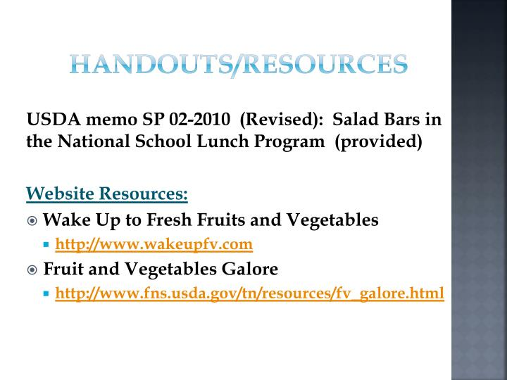 Handouts/Resources
