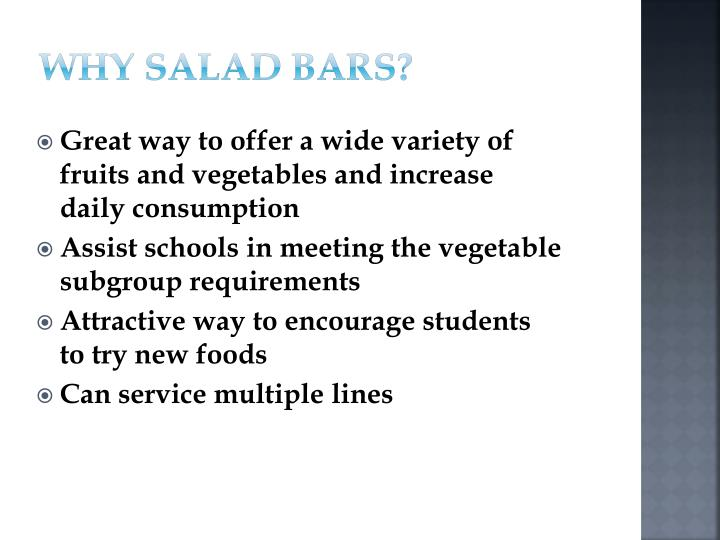 WHY SALAD BARS?