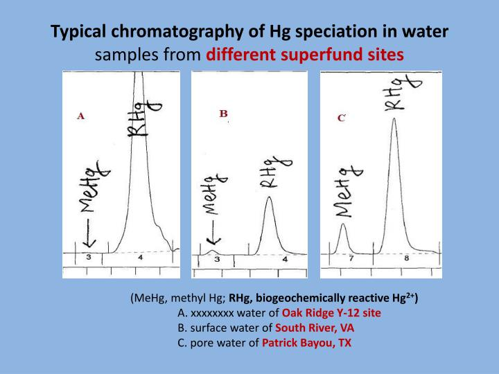 Typical chromatography of Hg speciation in water