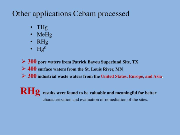Other applications Cebam processed
