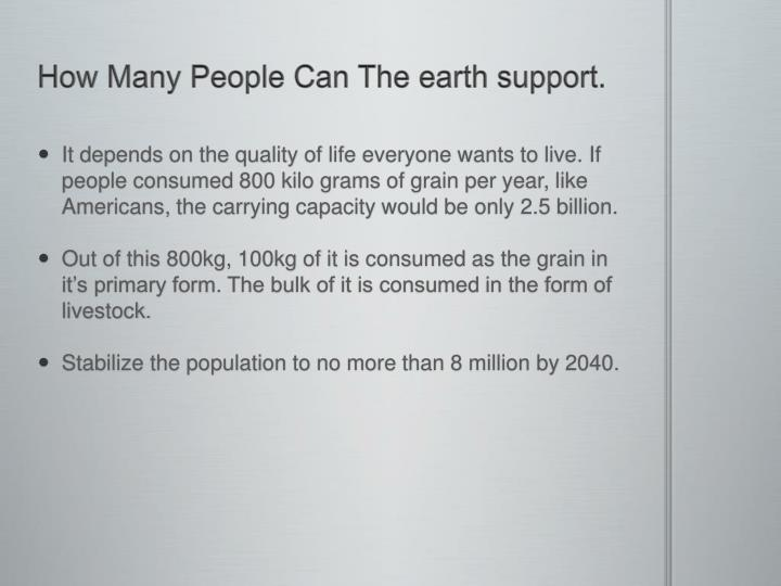 How Many People Can The earth support.