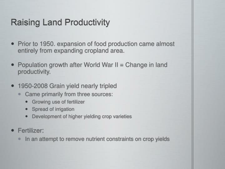 Raising Land Productivity