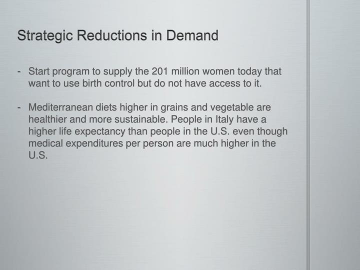 Strategic Reductions in Demand