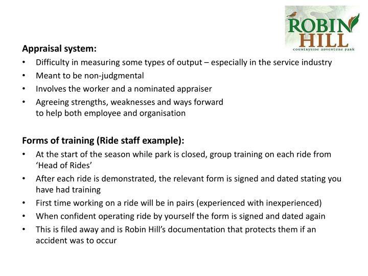 Appraisal system: