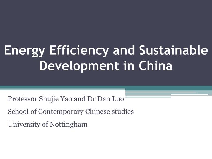 Energy efficiency and sustainable development in china