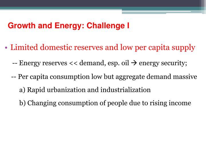 Growth and Energy: Challenge I