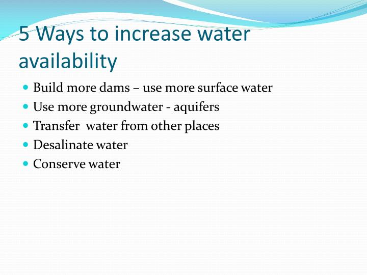 5 Ways to increase water availability