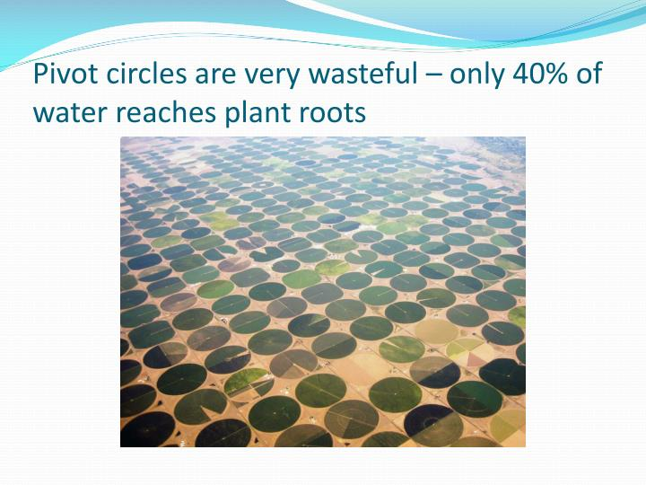 Pivot circles are very wasteful – only 40% of water reaches plant roots