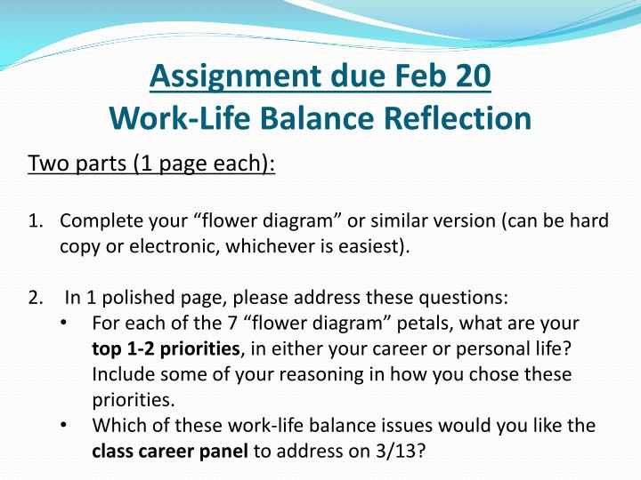 Assignment due Feb 20
