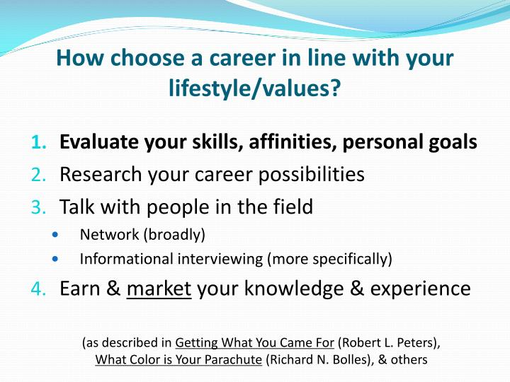 How choose a career in line with your lifestyle/values?