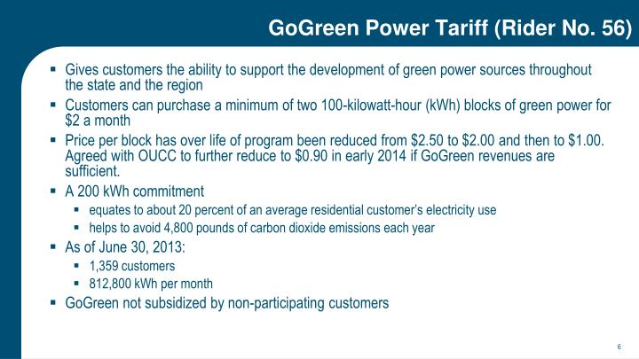 GoGreen Power Tariff (Rider No. 56)