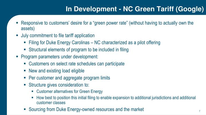 In Development - NC Green Tariff (Google)
