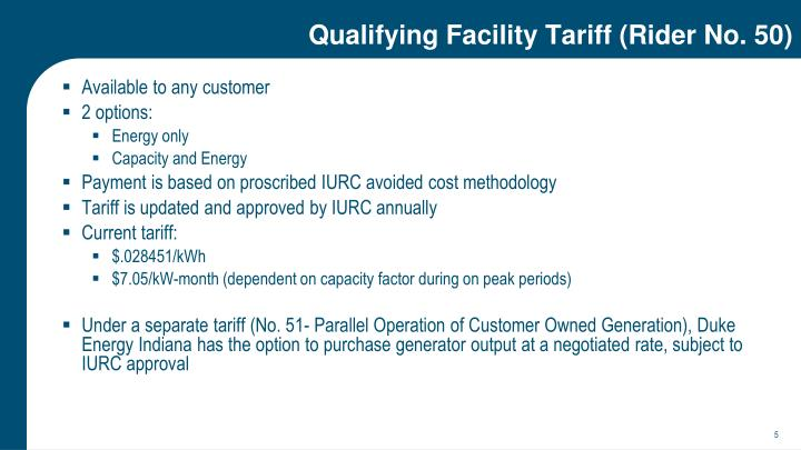 Qualifying Facility Tariff (Rider No. 50)
