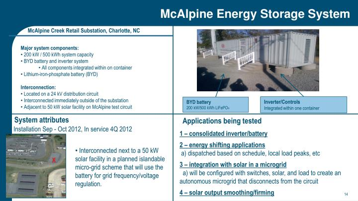 McAlpine Energy Storage System