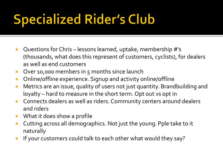 Specialized Rider's Club