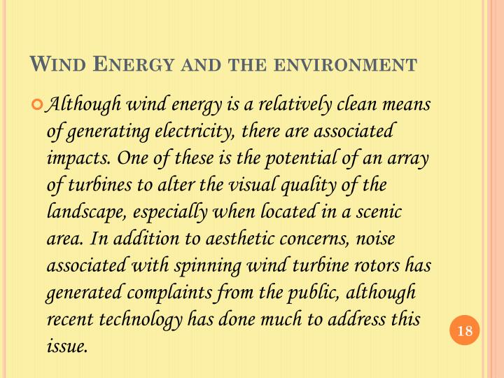 Wind Energy and the environment
