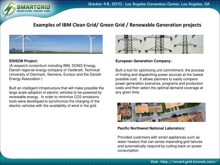 Examples of IBM Clean Grid/ Green Grid / Renewable Generation projects