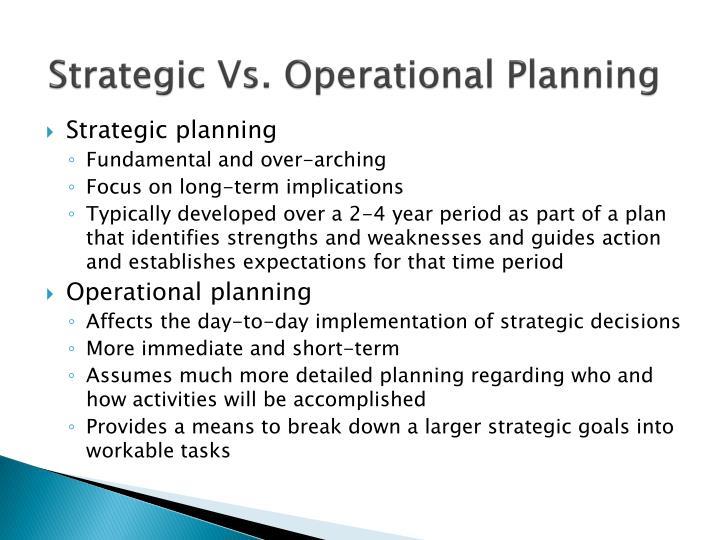 Strategic Vs. Operational Planning