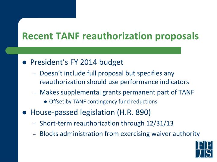 Recent TANF reauthorization proposals