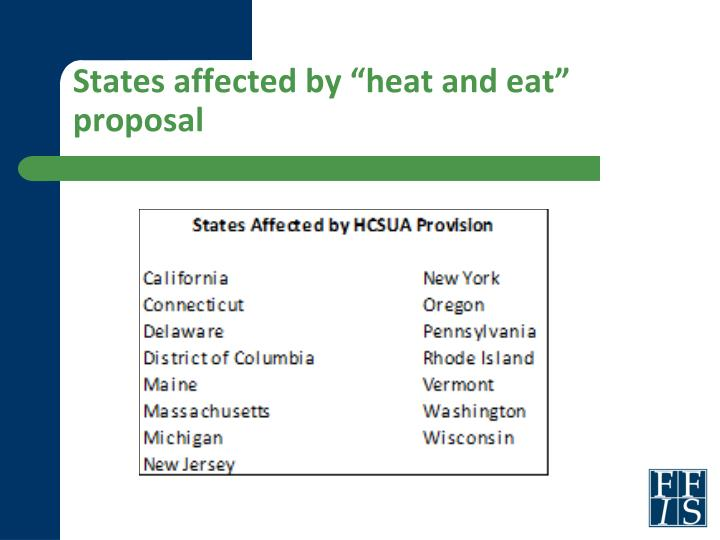 "States affected by ""heat and eat"" proposal"