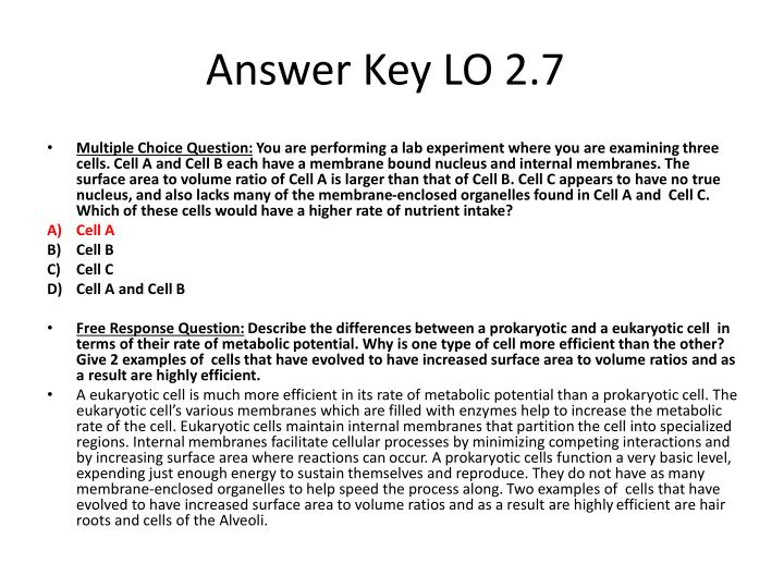 Answer Key LO 2.7