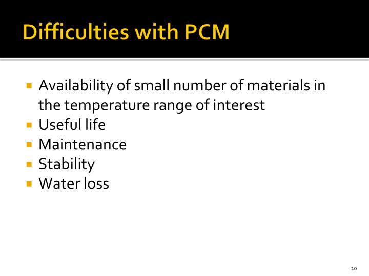 Difficulties with PCM