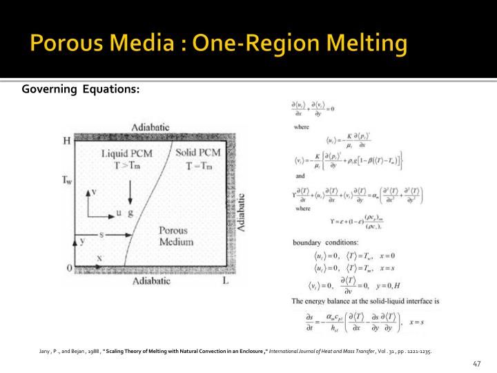 Porous Media : One-Region Melting