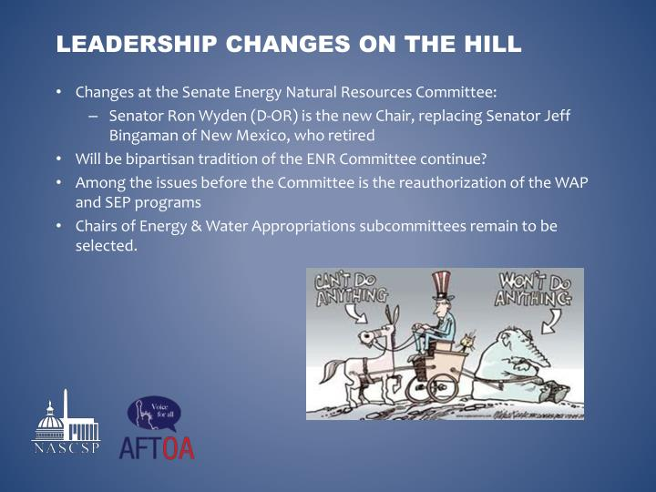 Changes at the Senate Energy Natural Resources Committee: