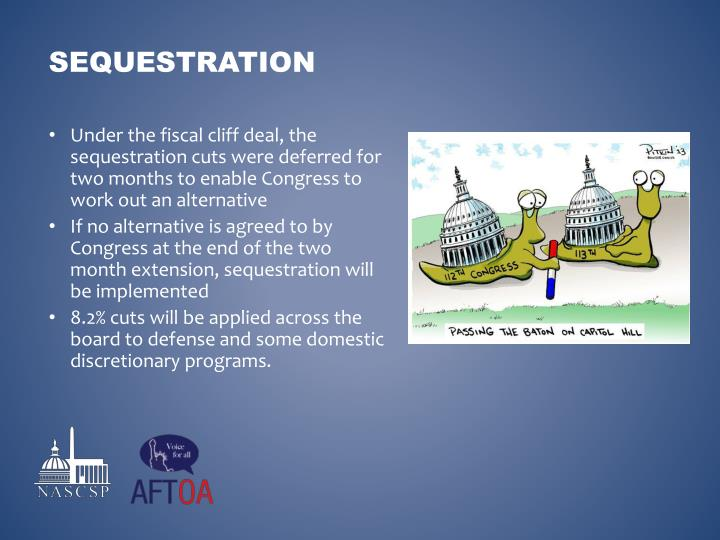 Under the fiscal cliff deal, the sequestration cuts were deferred for two months to enable Congress to work out an alternative