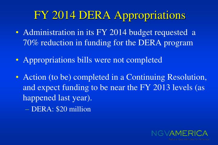 FY 2014 DERA Appropriations