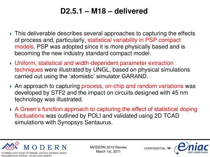 D2.5.1 – M18 – delivered