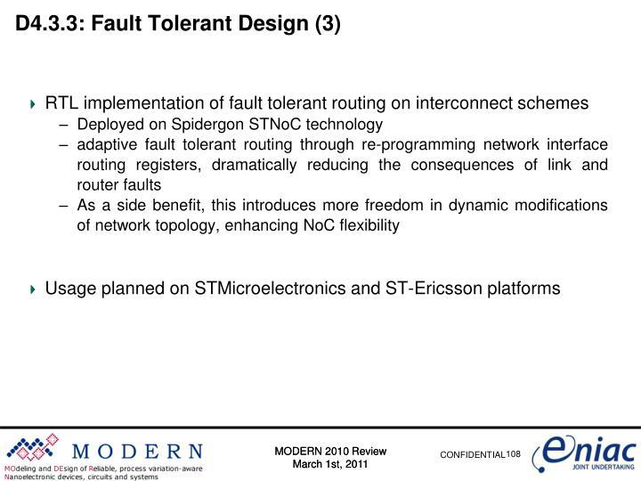 D4.3.3: Fault Tolerant Design (3)