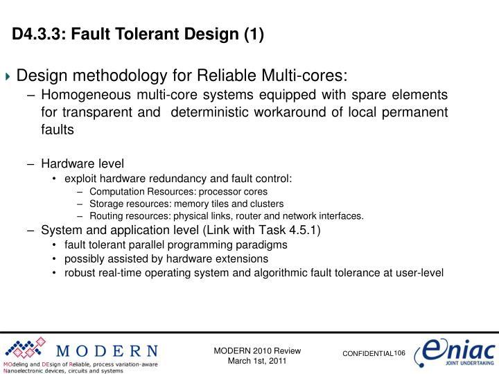 D4.3.3: Fault Tolerant Design (1)