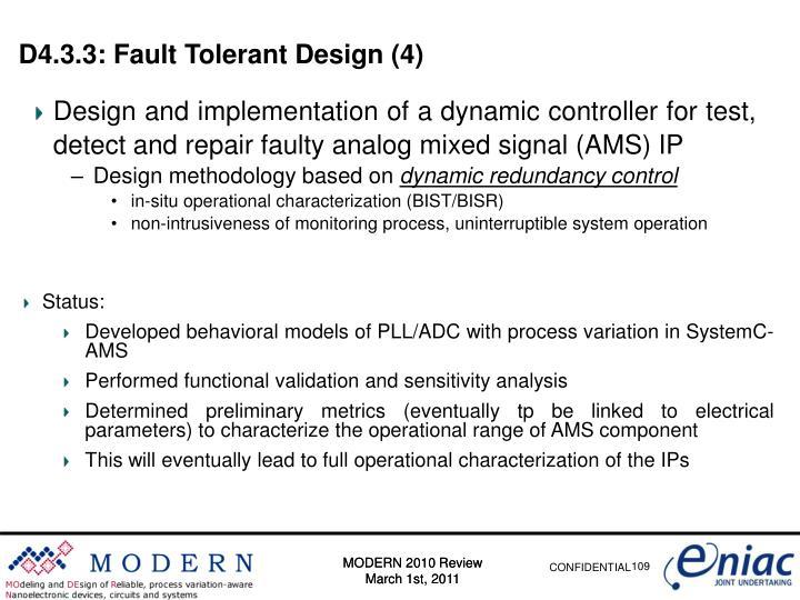 D4.3.3: Fault Tolerant Design (4)