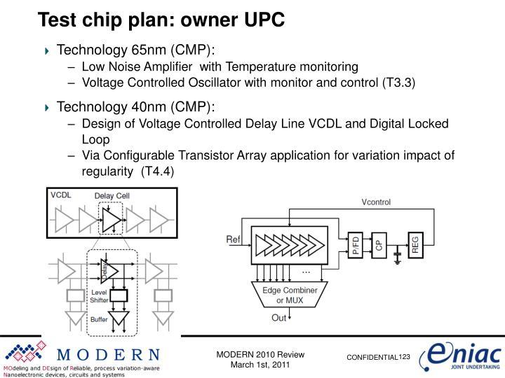 Test chip plan: owner UPC