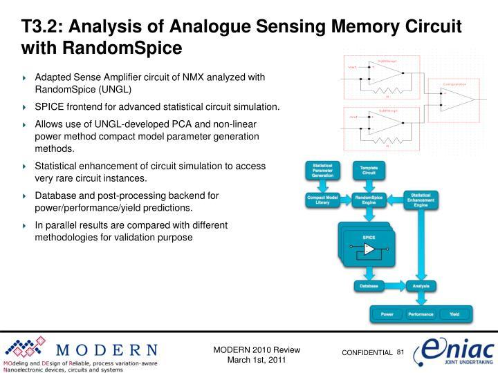 T3.2: Analysis of Analogue Sensing Memory Circuit with