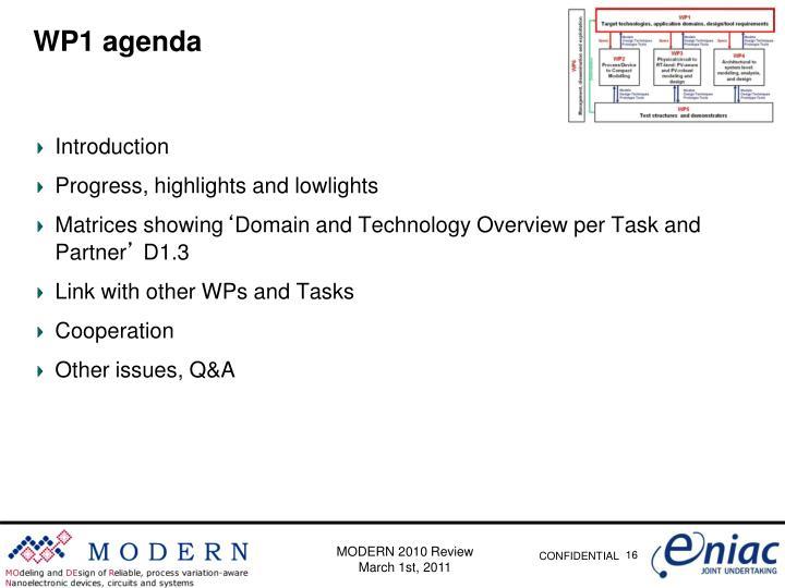 WP1 agenda