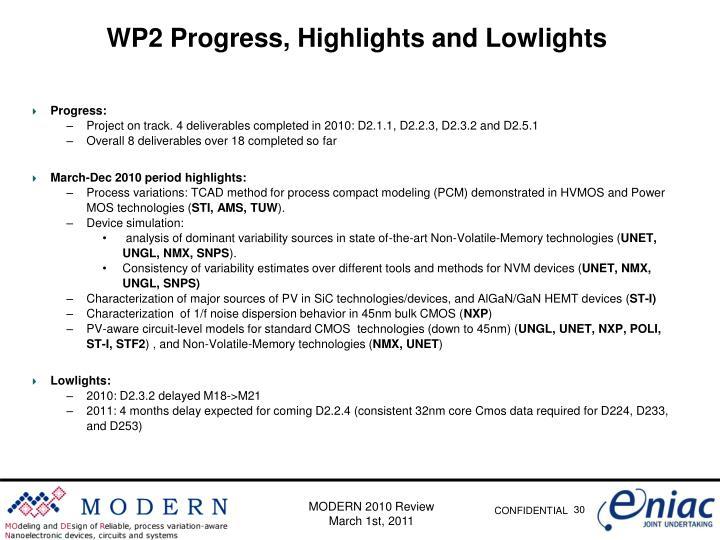 WP2 Progress,