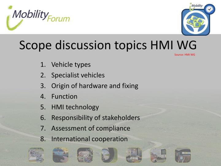Scope discussion topics HMI WG