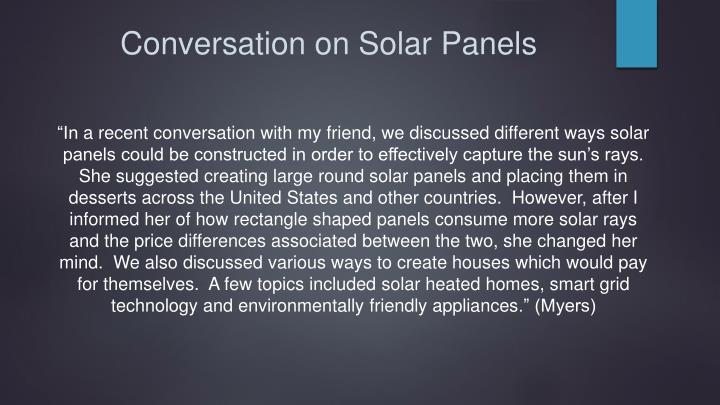 Conversation on Solar Panels