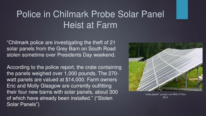 Police in Chilmark Probe Solar Panel Heist at Farm