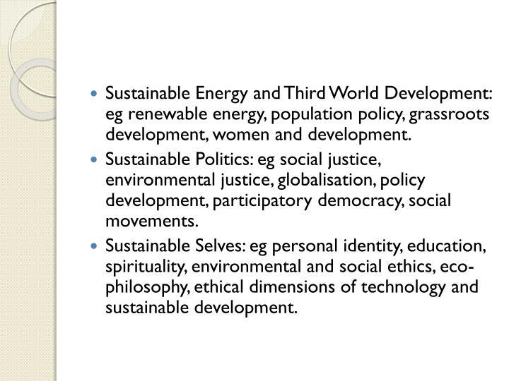 Sustainable Energy and Third World Development: