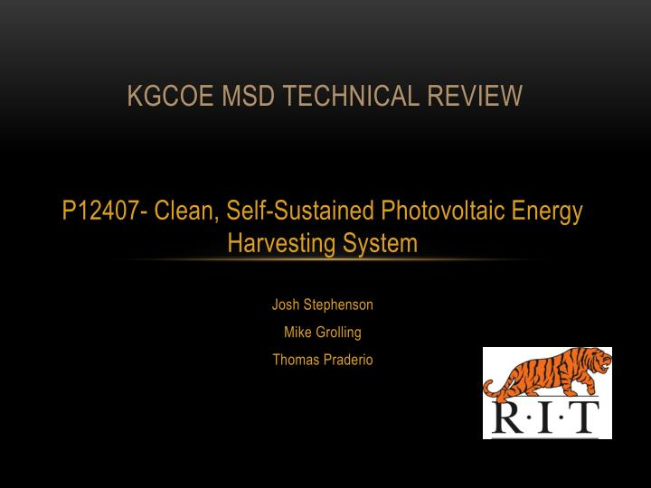Kgcoe msd technical review
