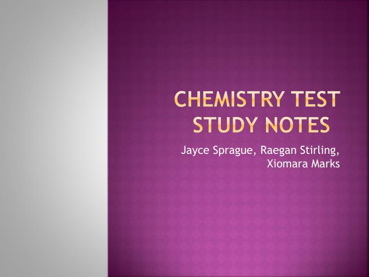 Chemistry test study notes