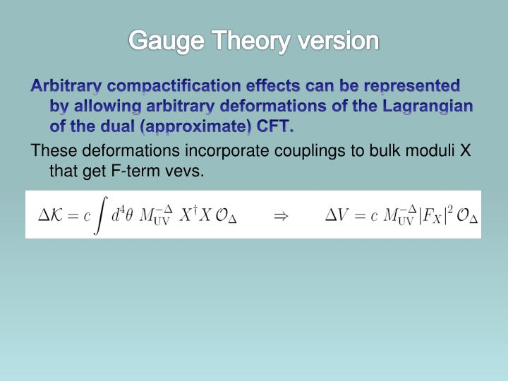 Gauge Theory version