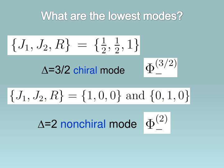 What are the lowest modes?