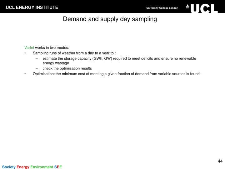 Demand and supply day sampling
