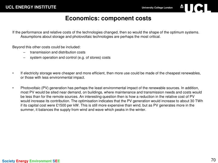 Economics: component costs