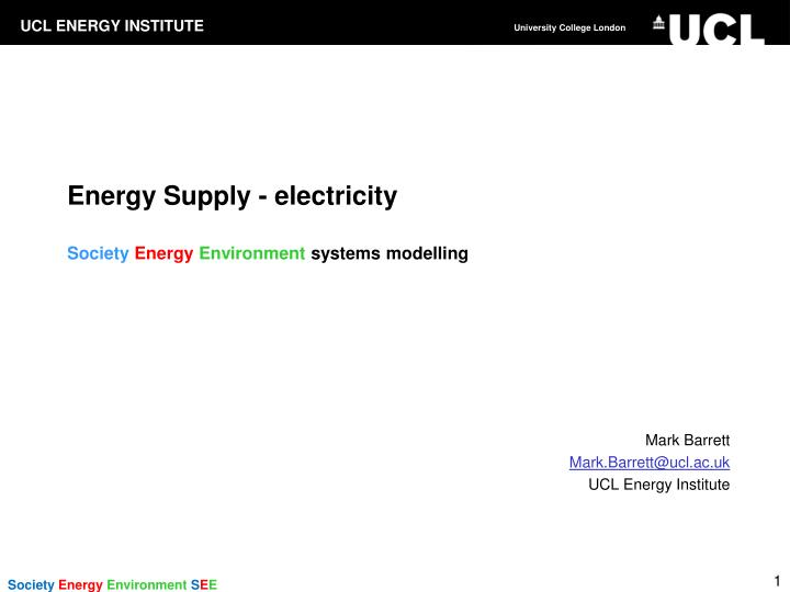 Energy supply electricity society energy environment systems modelling